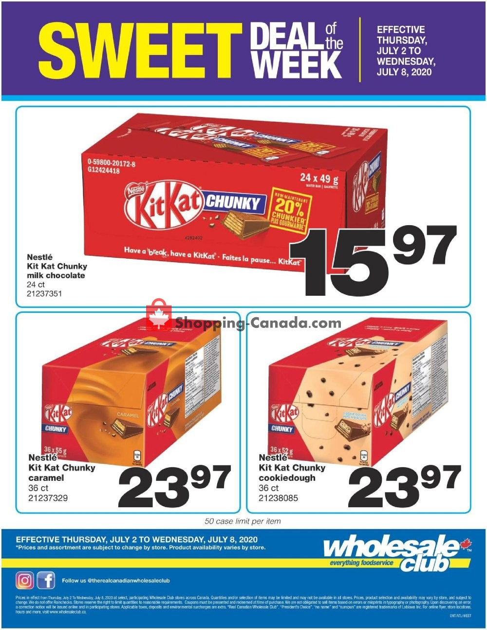 Flyer Wholesale Club Canada - from Thursday July 2, 2020 to Wednesday July 8, 2020