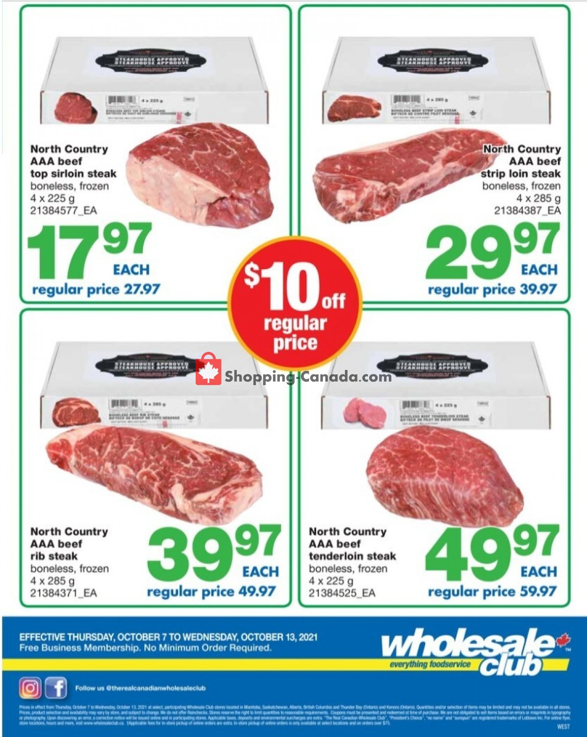 Flyer Wholesale Club Canada - from Thursday October 7, 2021 to Wednesday October 13, 2021