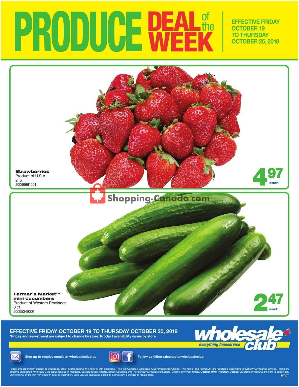 Flyer Wholesale Club Canada - from Friday October 19, 2018 to Thursday October 25, 2018