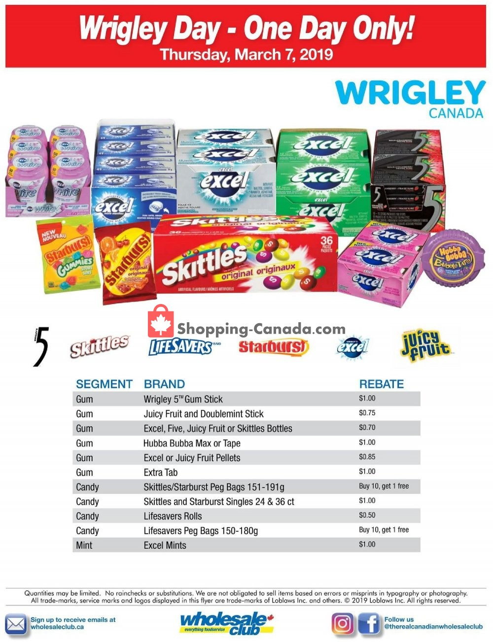 Flyer Wholesale Club Canada - from Thursday March 7, 2019 to Thursday March 7, 2019