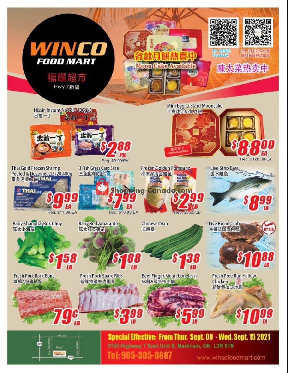 Flyer WinCo Food Mart Canada - from Thursday September 9, 2021 to Wednesday September 15, 2021