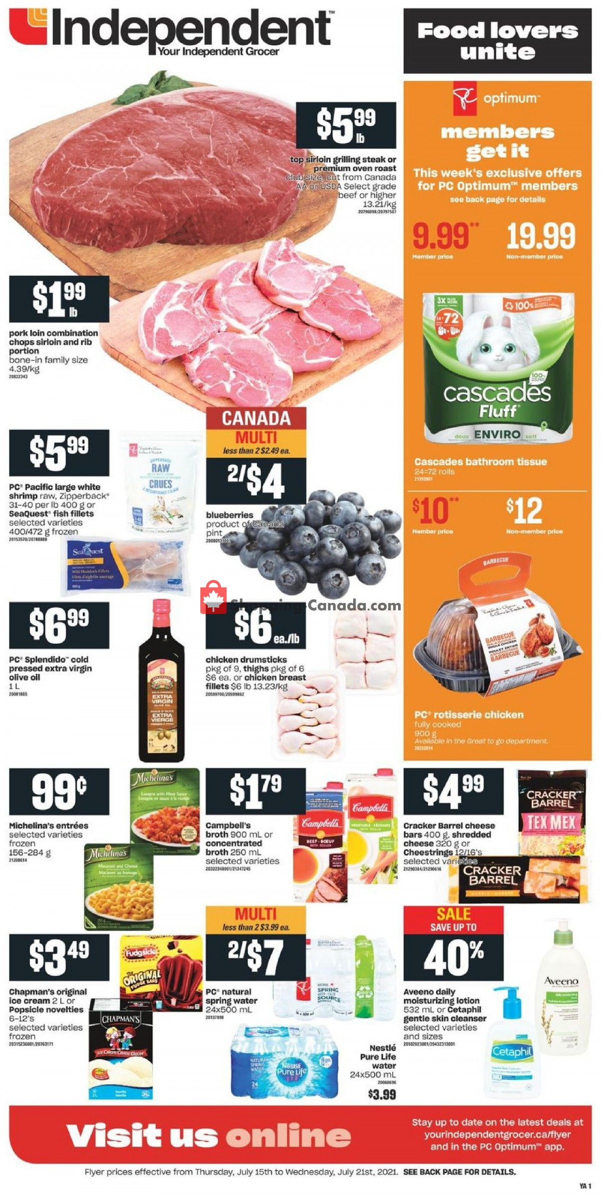 Flyer Your Independent Grocer Canada - from Thursday July 15, 2021 to Wednesday July 21, 2021