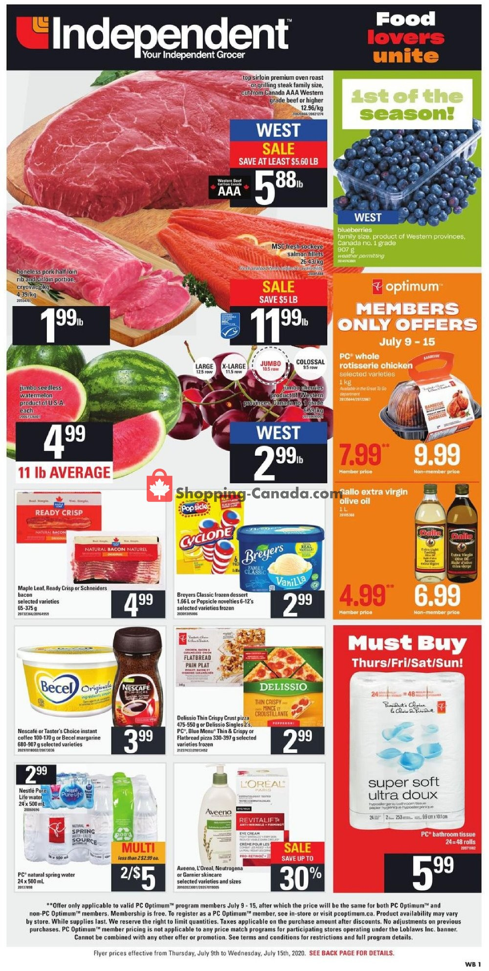 Flyer Your Independent Grocer Canada - from Thursday July 9, 2020 to Wednesday July 15, 2020