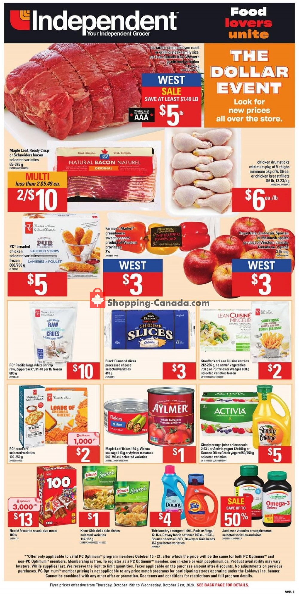 Flyer Your Independent Grocer Canada - from Thursday October 15, 2020 to Wednesday October 21, 2020