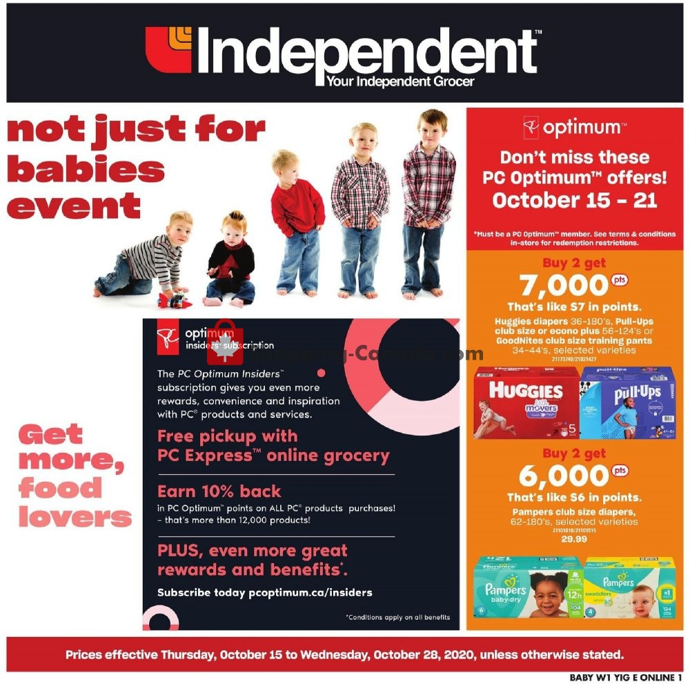 Flyer Your Independent Grocer Canada - from Thursday October 15, 2020 to Wednesday October 28, 2020