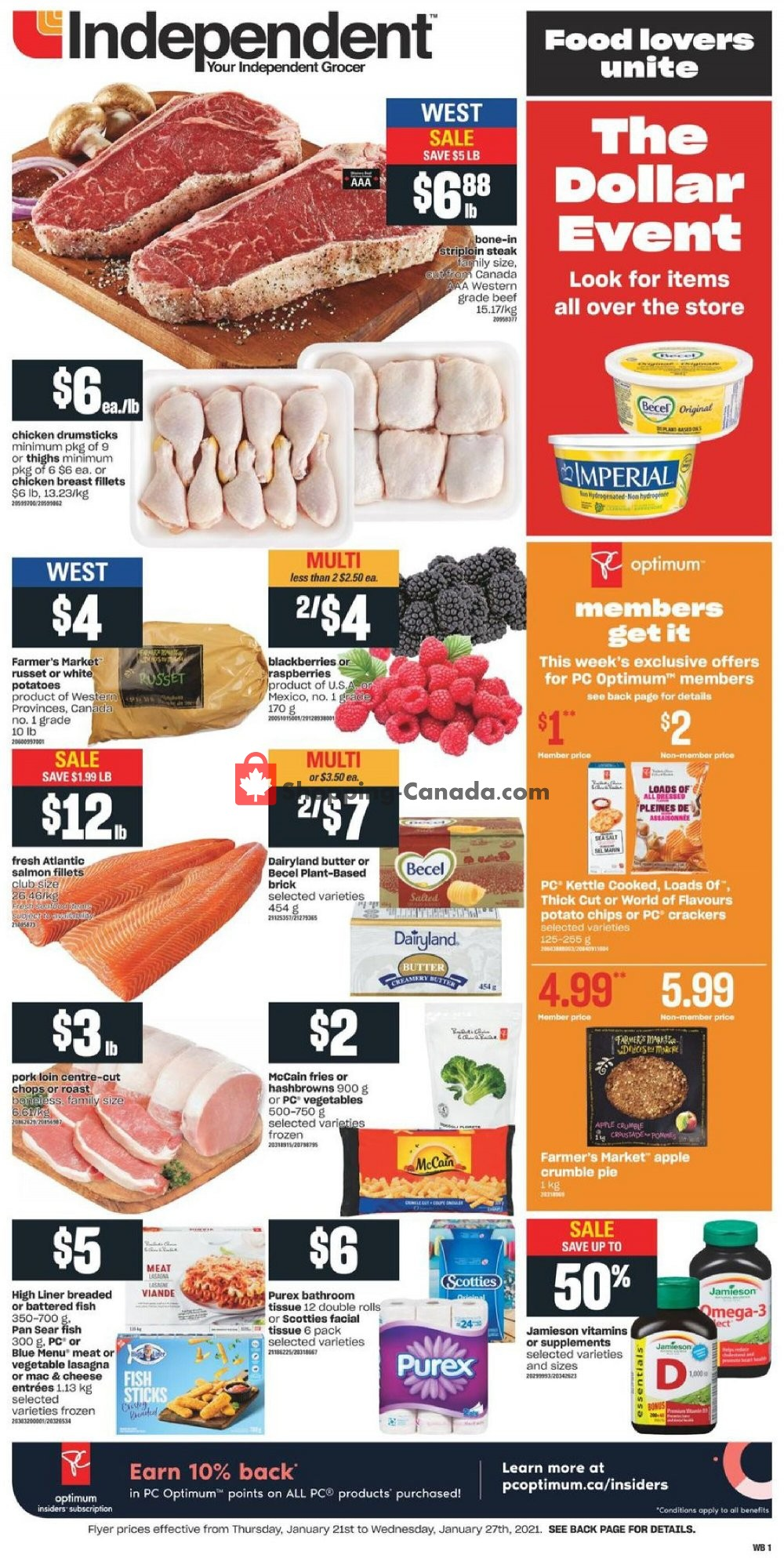 Flyer Your Independent Grocer Canada - from Thursday January 21, 2021 to Wednesday January 27, 2021