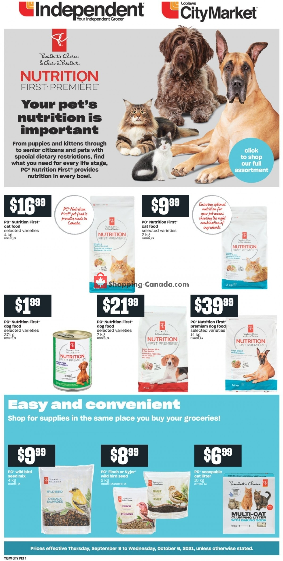 Flyer Your Independent Grocer Canada - from Thursday September 9, 2021 to Wednesday October 6, 2021