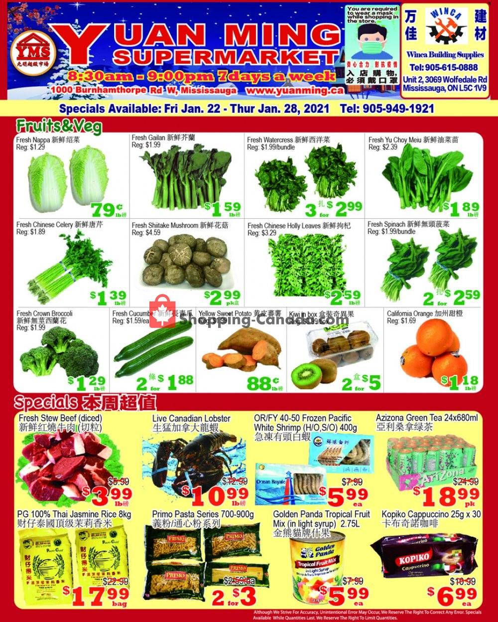 Flyer Yuan Ming Supermarket Canada - from Friday January 22, 2021 to Thursday January 28, 2021