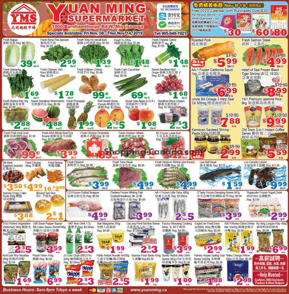 Flyer Yuan Ming Supermarket Canada - from Friday November 8, 2019 to Thursday November 14, 2019