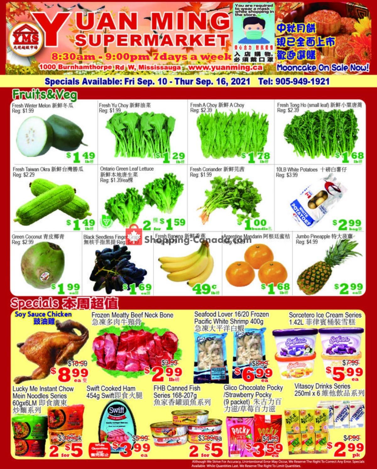 Flyer Yuan Ming Supermarket Canada - from Friday September 10, 2021 to Thursday September 16, 2021
