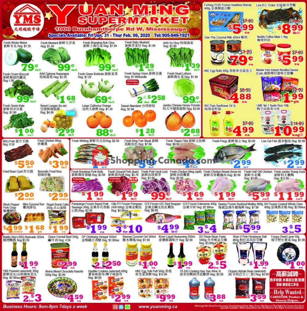 Flyer Yuan Ming Supermarket Canada - from Friday January 31, 2020 to Thursday February 6, 2020