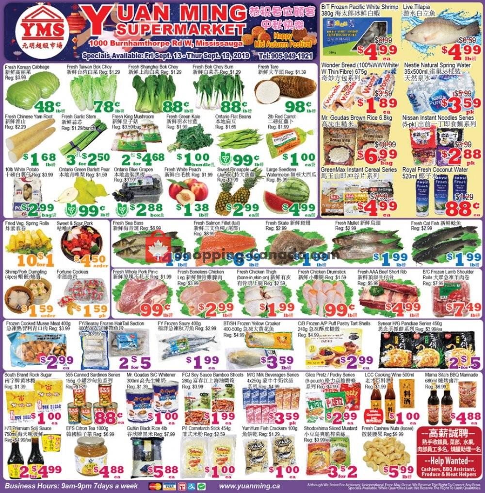Flyer Yuan Ming Supermarket Canada - from Friday September 13, 2019 to Thursday September 19, 2019