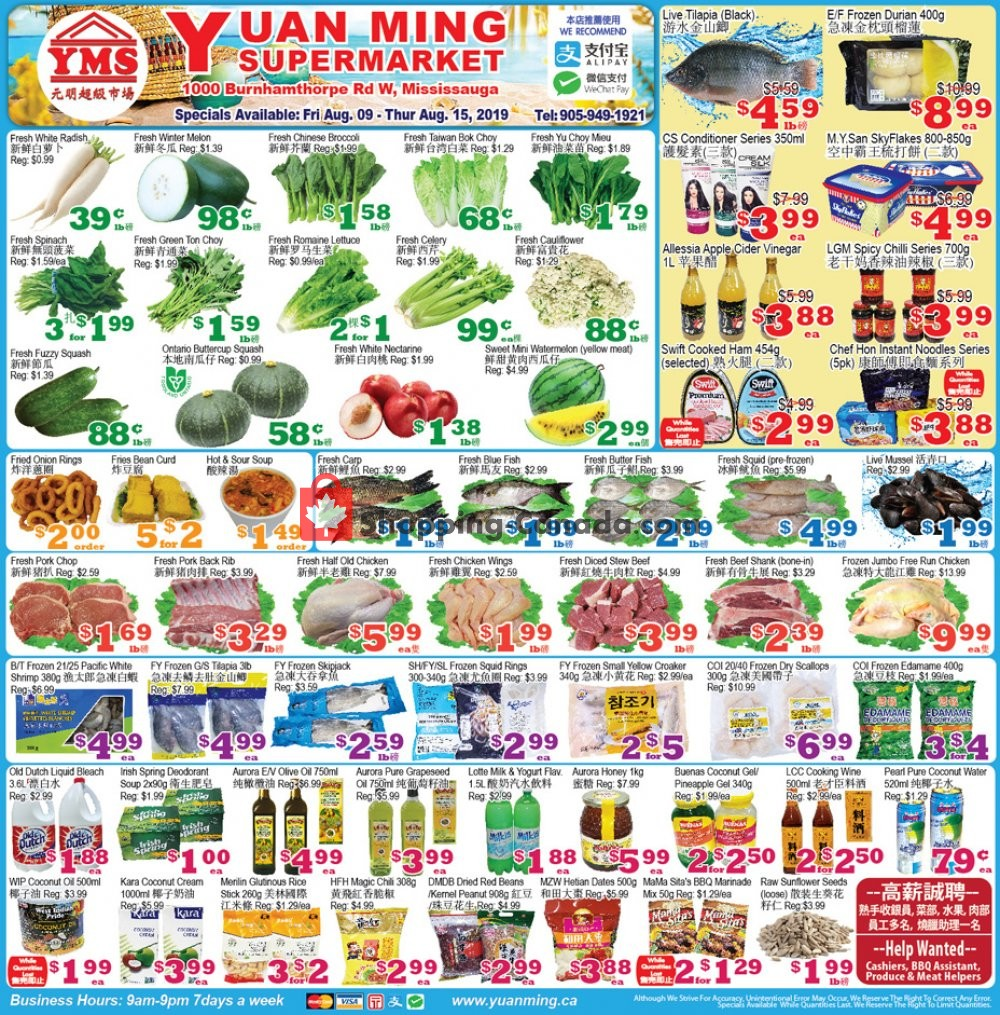 Flyer Yuan Ming Supermarket Canada - from Friday August 9, 2019 to Thursday August 15, 2019