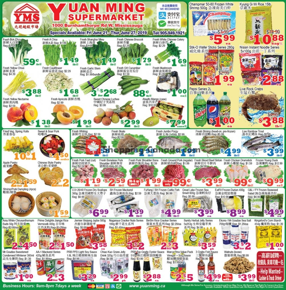 Flyer Yuan Ming Supermarket Canada - from Friday June 21, 2019 to Thursday June 27, 2019