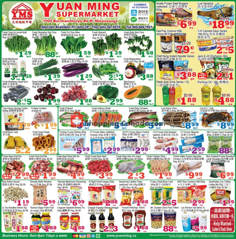Flyer Yuan Ming Supermarket Canada - from Friday June 28, 2019 to Thursday July 4, 2019