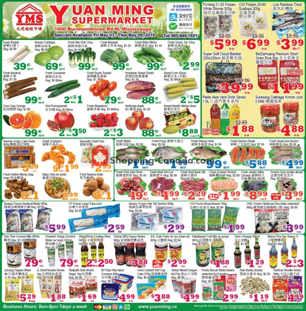 Flyer Yuan Ming Supermarket Canada - from Friday May 3, 2019 to Thursday May 9, 2019