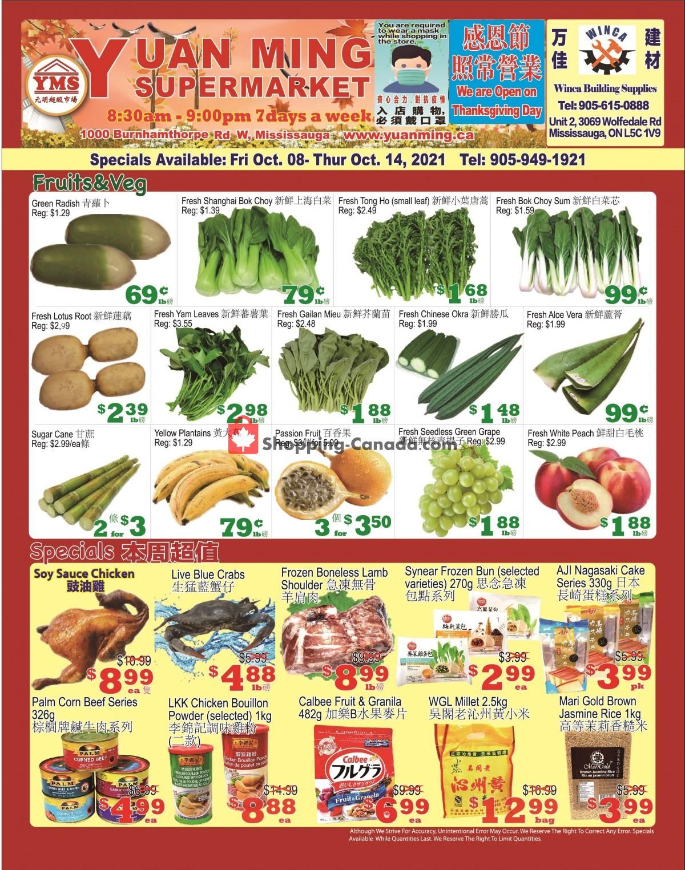 Flyer Yuan Ming Supermarket Canada - from Friday October 8, 2021 to Thursday October 14, 2021