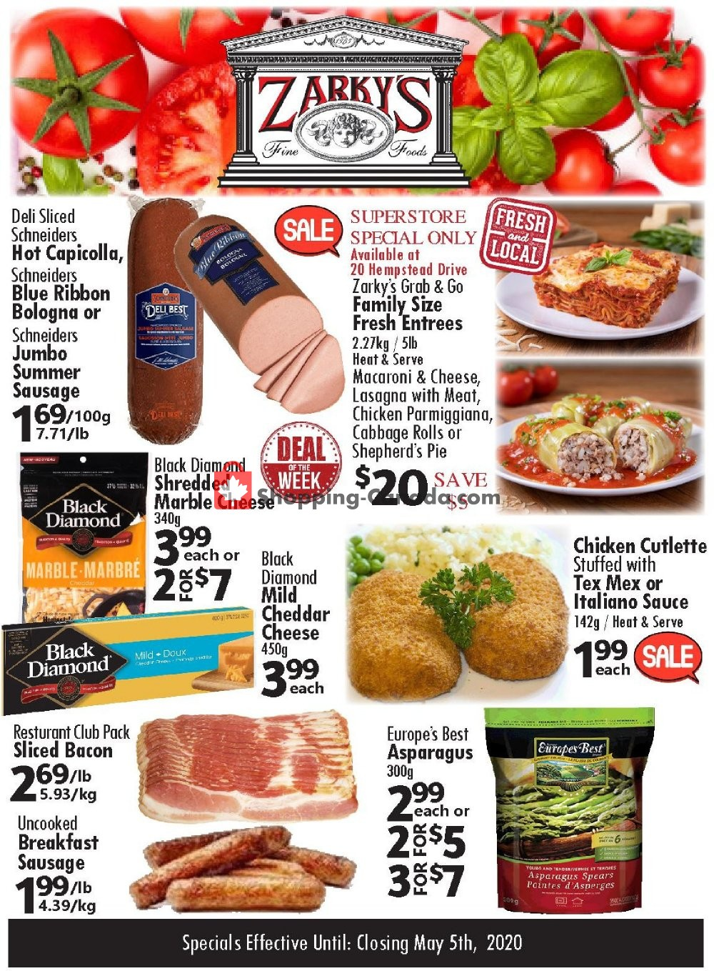 Flyer Zarky's Canada - from Wednesday April 29, 2020 to Tuesday May 5, 2020