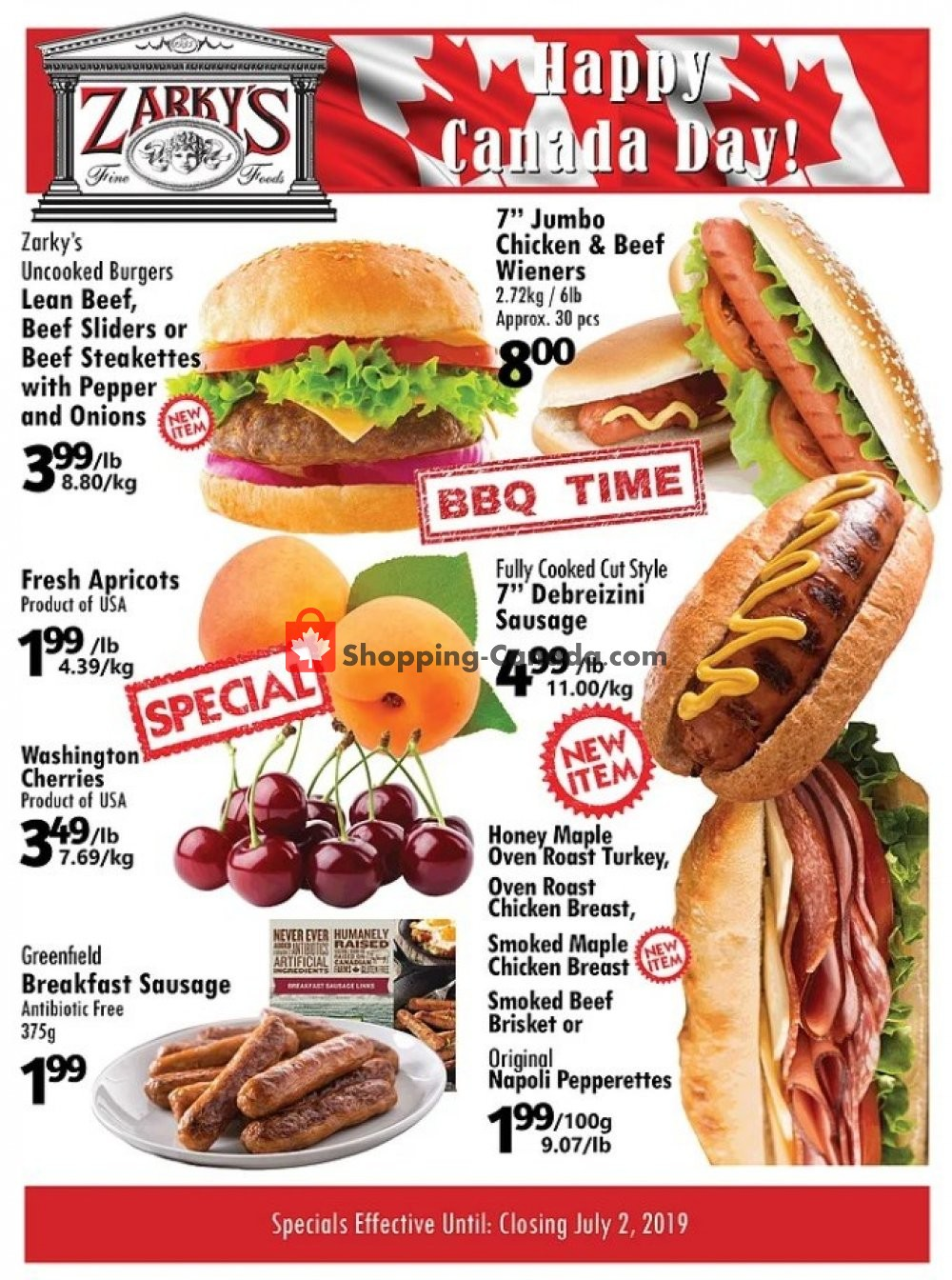 Flyer Zarky's Canada - from Wednesday June 26, 2019 to Tuesday July 2, 2019