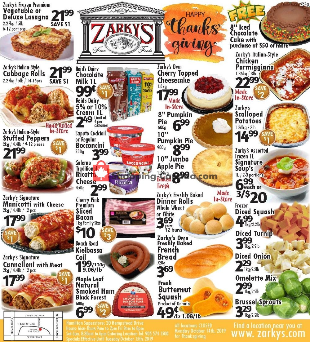 Flyer Zarky's Canada - from Wednesday October 9, 2019 to Tuesday October 15, 2019
