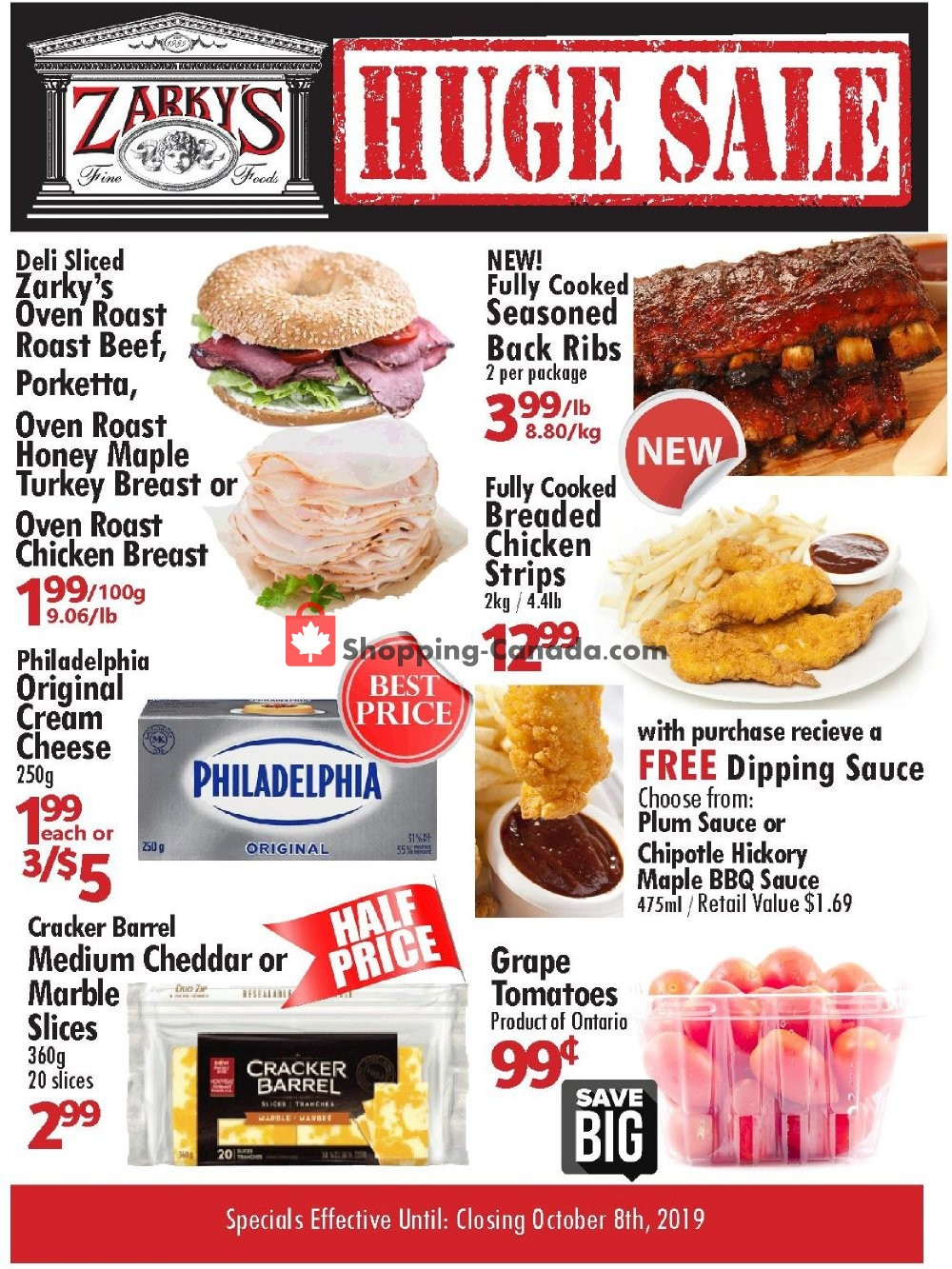 Flyer Zarky's Canada - from Wednesday October 2, 2019 to Tuesday October 8, 2019