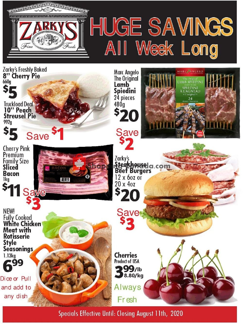 Flyer Zarky's Canada - from Wednesday August 5, 2020 to Tuesday August 11, 2020