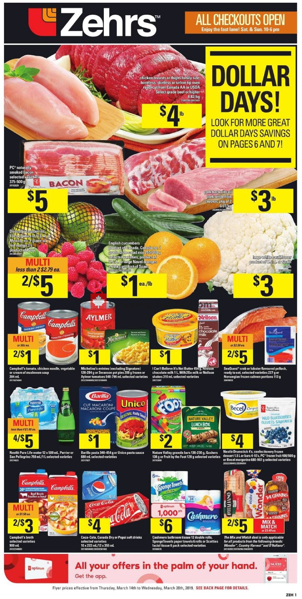 Flyer Zehrs Canada - from Thursday March 14, 2019 to Wednesday March 20, 2019