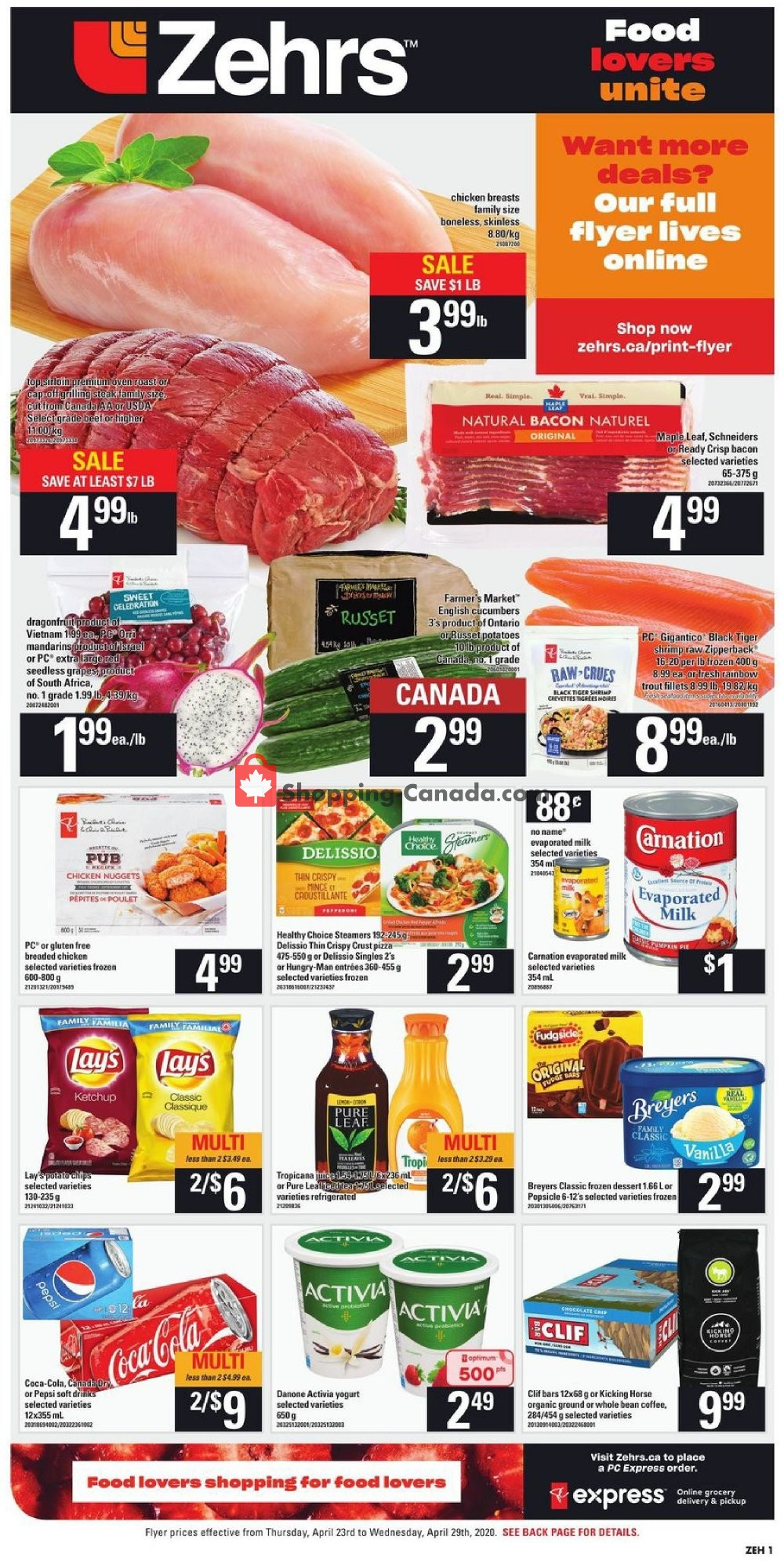 Flyer Zehrs Canada - from Thursday April 23, 2020 to Wednesday April 29, 2020