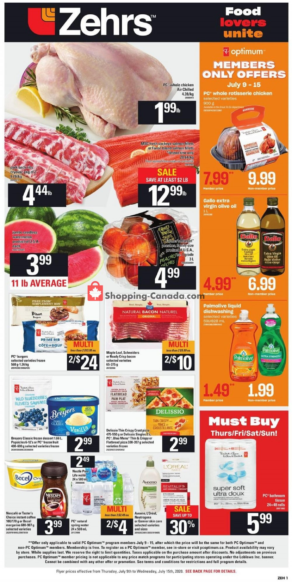 Flyer Zehrs Canada - from Thursday July 9, 2020 to Wednesday July 15, 2020