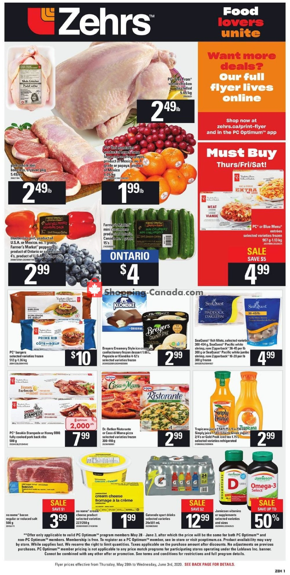 Flyer Zehrs Canada - from Thursday May 28, 2020 to Wednesday June 3, 2020