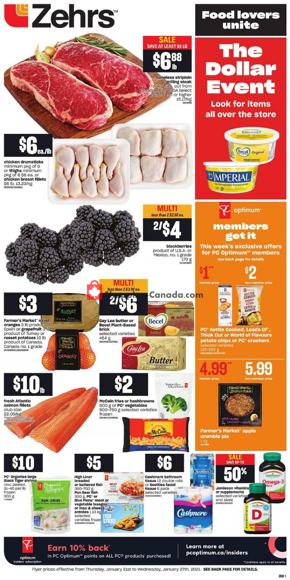 Flyer Zehrs Canada - from Thursday January 21, 2021 to Wednesday January 27, 2021